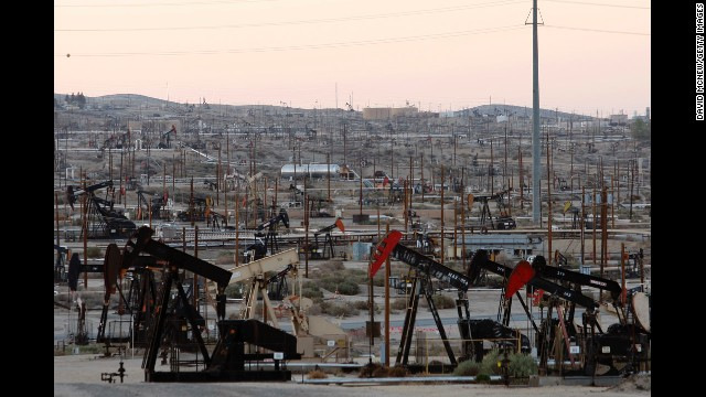 Pumpjacks and wells churn away at an oil field on the Monterey shale formation in March. Opponents of fracking in California cite increased water usage amid a devastating drought and possible chemical pollution as primary reasons for denouncing the operations. There are also concerns about fracking disturbing the already volatile, 800-mile-long San Andreas Fault.