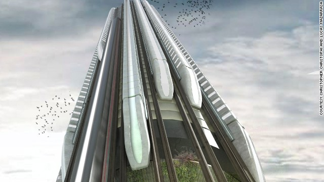 What if trains could scale up and down the exterior of huge skyscrapers to create vertical rail stations?