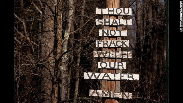 Signs protesting the process of fracking are posted near Callicoon Center, New York, in January 2012. Although oil companies hail fracking as an innovative way to boost gas reserves, the process has drawn a fair number of detractors.