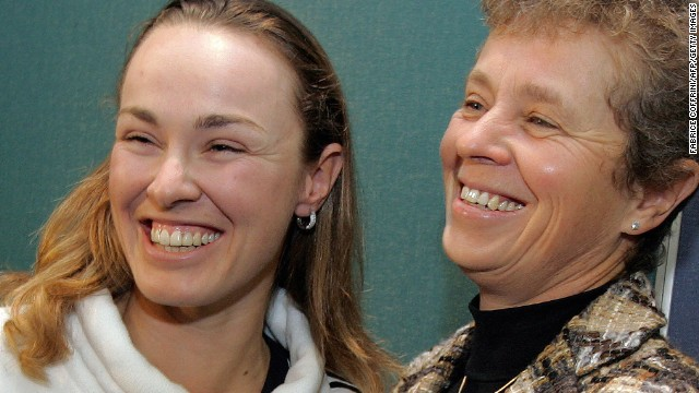 Former world No.1 Martina Hingis (left) is following mother Melanie Molitor's footsteps by coaching future tennis players at a new tennis center in Barcelona, Spain.