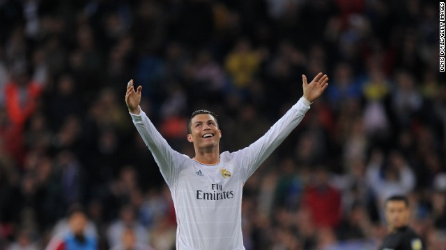 Cristiano Ronaldo celebrates after scoring against Osasuna at the Sanatiago Bernabeu.