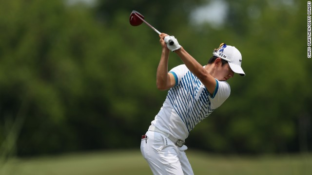 Noh Seung-Yul tees off during round three of the Zurich Classic of New Orleans at TPC Louisiana.