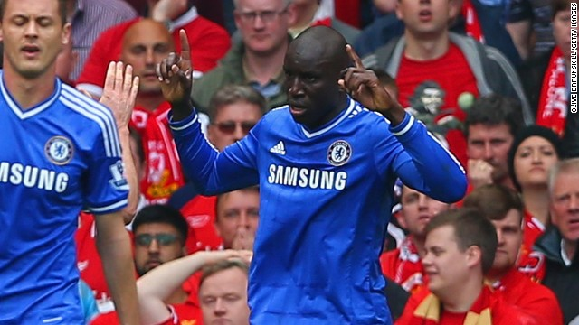 Demba Ba celebrates his crucial goal for Chelsea at Anfield as Liverpool's run of EPL wins came to an end