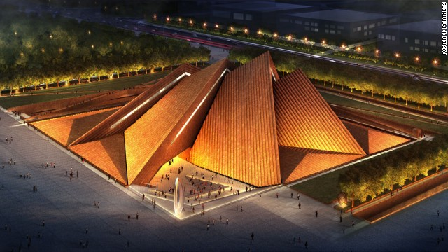 Foster + Partners designed the Datong Art Museum deliberately with a corton steel roof that will naturally weather over time. The 32,000-square-meter venue will be one of four major venues within Datong's new cultural area.