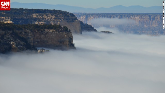 When <a href='http://ireport.cnn.com/docs/DOC-1069312'>Satpreet Dhillon </a>visited the Grand Canyon in Arizona, she was initially disappointed to see its caverns obscured by a thick blanket of fog. But park rangers say this unique phenomenon happens around once a decade. Once Dhillon discovered how rare this event is, she became more appreciative of her visit, and this photo.<!-- --> </br><!-- --> </br><strong>Share your </strong><strong><a href='http://ireport.cnn.com/topics/1122149'>best national park photos </a></strong><strong>with CNN iReport.</strong>