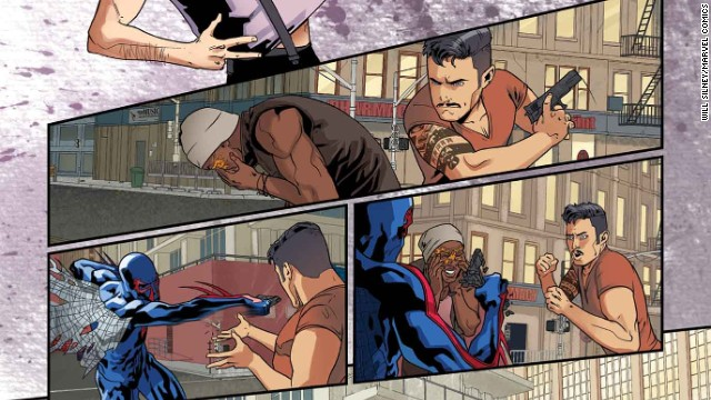 """More of the """"Spider-Man 2099"""" story in """"Amazing Spider-Man"""" #1."""