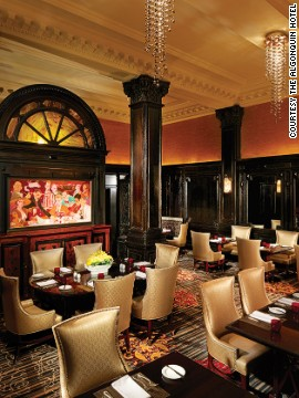 "Site of the famed ""round table"" luncheons of Dorothy Parker, Alexander Woollcott and other writers of repute, the hotel is filled with old Vanity Fair covers, New Yorker cartoons and quotes from its most illustrious patrons."