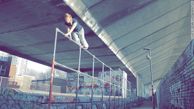 """The majority of parkour enthusiasts are men, however Adams says there's a growing female contingent. """"It's impossible to know how many people are doing it worldwide. But our London <a href='https://www.facebook.com/parkourgenerations' target='_blank'>Facebook group</a> alone has 100,000 likes."""""""
