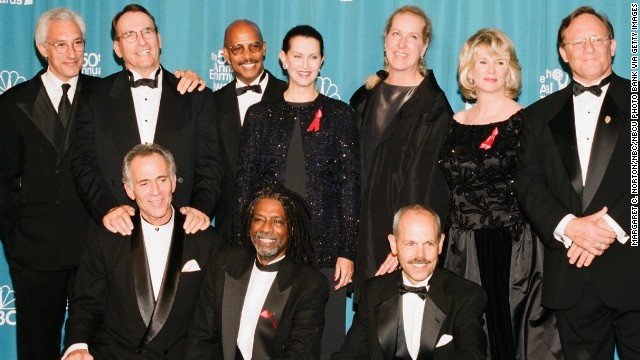 "Blacque, bottom row center, joined producer Steven Bochco, top row left, and members of the ""Hill Street"" cast at the Emmys in 1998. Since the show ended, he has done a number of TV shows but also plenty of stage work, including performances with Atlanta's Alliance Theatre."