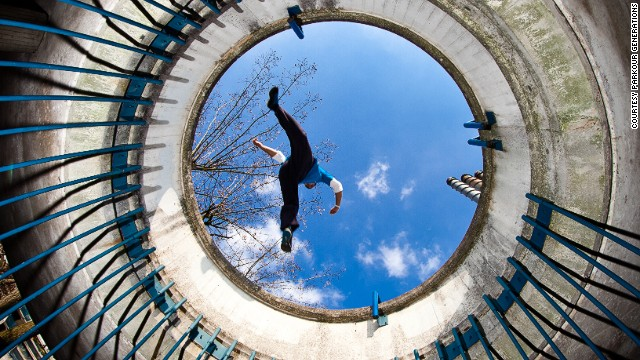"""Also known as """"freerunning,"""" participants rely only on their bodies, using their surroundings to powerfully propel themselves forward."""