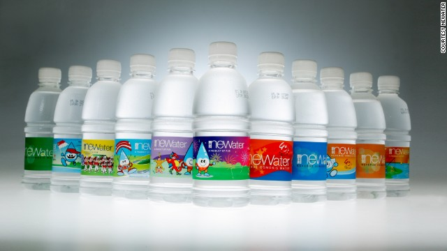 """Bottled and branded recycled water, called """"NEWater,"""" is distributed to the public on some public holidays, to showcase the water quality."""