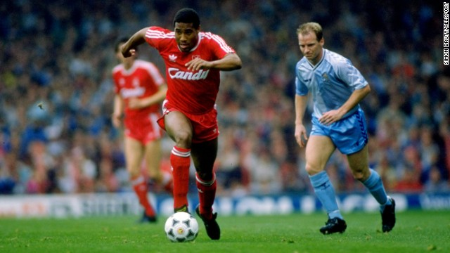 An Everton fan threw a banana at Liverpool's John Barnes in 1988, with the England international forced to kick it off the pitch.