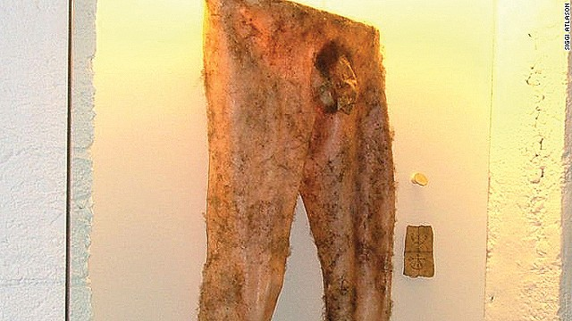 "A replica of ""necropants,"" which were reputedly made from human skin and said to grant financial success to the wearer."