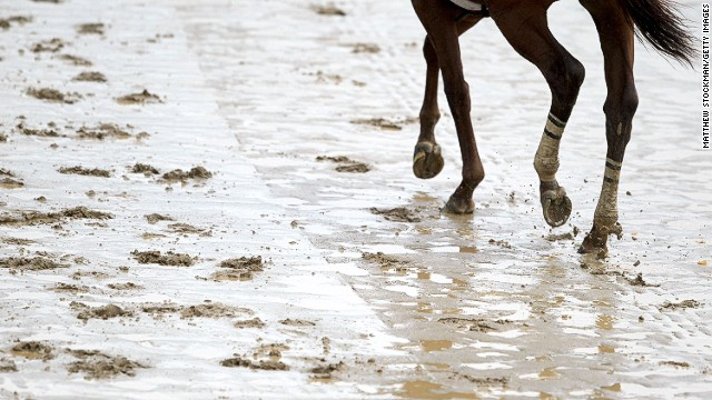 As much as two inches of rain fell on Monday alone, leading to sodden tracks as horses went out to train.