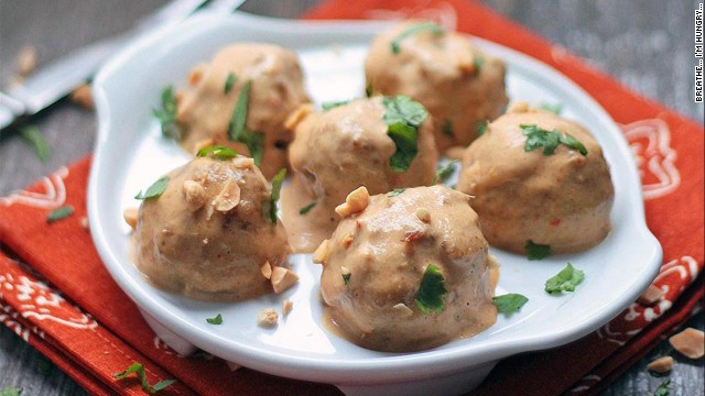These chicken satay meatballs are gluten-free and lower in fat and carbs than those made from beef. They also have an exotic Thai flavor.