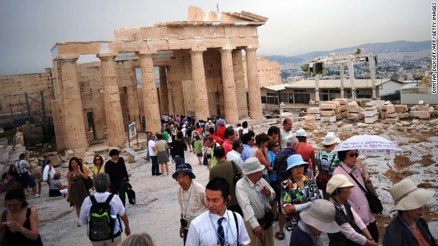 The climb up is hot and crowded -- but at the top, you'll see why a million people do this every year. This is Athenian culture refined and placed on a pedestal 150 meters high.