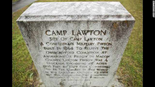 A marker identifies the location of Camp Lawton near Millen. This part of the land once occupied by the prison is now Magnolia Springs State Park, while another portion where thousands of prisoners lived became a federal fish hatchery. Lawton, at 42 acres, was considered the largest prison in the world at the time of the American Civil War, which lasted from 1861 to 1865.