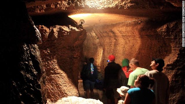 Niagara Cave near Harmony, Minnesota, has a 60-foot waterfall and an underground wedding chapel.
