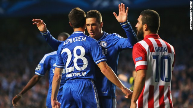 Chelsea finally made the breakthrough nine minutes before the interval when Fernando Torres fired home from inside the penalty area. Torres, who began his career at Atletico, refused to celebrate but the rest of his teammates enjoyed his strike.