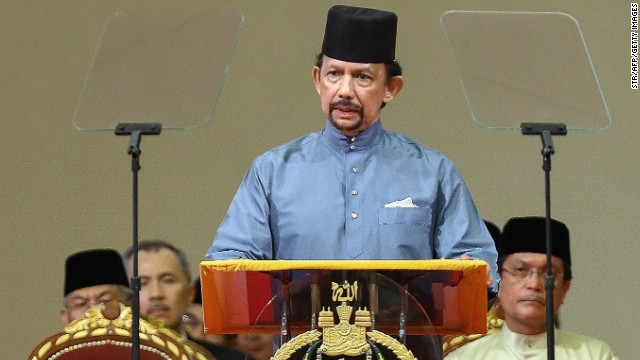 Brunei's Sultan Hassanal Bolkiah delivers a speech during the official ceremony of the implementation of sharia law.