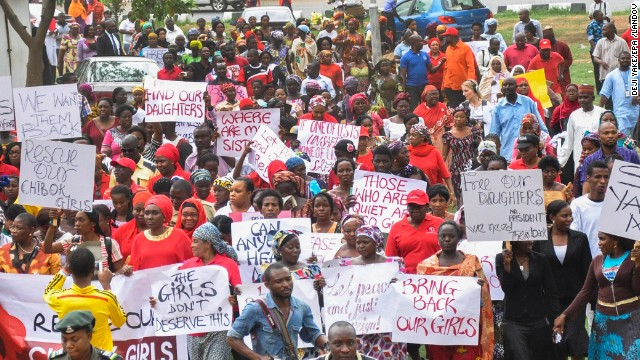 "Protesters take part in a ""million woman march"" on Wednesday, April 30, in Abuja."