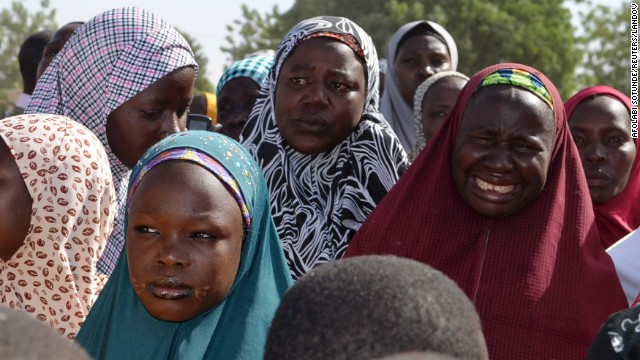 Mothers weep during a meeting with the Borno state governor on April 22 in Chibok.