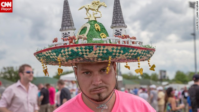 "Churchill Downs' twin spires figure in many hat designs, ""but I love that this guy did it on a sombrero,"" McGraw said. Derby weekend is usually around Cinco de Mayo, which leads to lots of Mexican-themed headpieces. McGraw says most hat-wearers are happy to pose for him. But maybe not this guy."