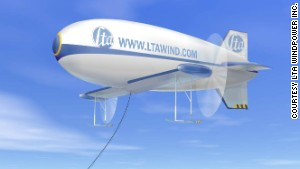 Canada\'s LTA Windpower has designed a hydrogen-filled, winged-blimp called the PowerShip.