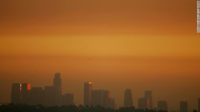 Los Angeles, California, seen through smog before sunset.