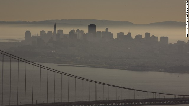 A <a href='http://www.latimes.com/science/la-top-10-most-polluted-cities-20140430-html,0,3083737.htmlstory#axzz30OAKFu88' target='_blank'>2014 report</a> ranks cities that have the worst air quality. San Francisco, California, is among them.