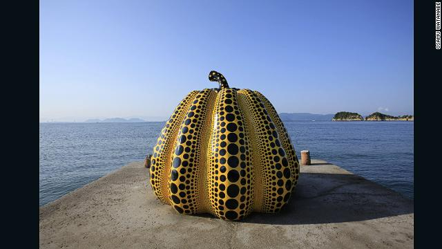 """Pop art precursor Yayoi Kusama, who's often credited with influencing Andy Warhol, was commissioned to create """"Pumpkin"""" for Naoshima. The sculpture has become a Naoshima icon, and smaller stone imitations are found dotted around the island."""
