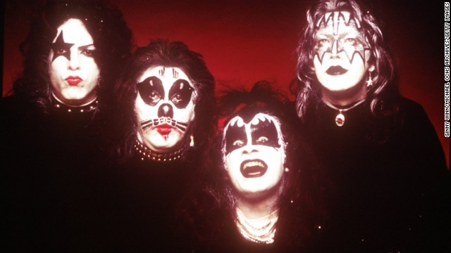 "For 40 years, KISS has been enthralling fans with its hard-rock sound, over-the-top look and pyrotechnic shows. The band, which was recently inducted into the Rock and Roll Hall of Fame, is the subject of ""CNN Spotlight: KISS,"" which premieres Friday, May 2 at 10:30 p.m. ET. We look back at the band over the years. Left to right, Paul Stanley, Peter Criss, Gene Simmons and Ace Frehley pose for KISS' first album in 1974."
