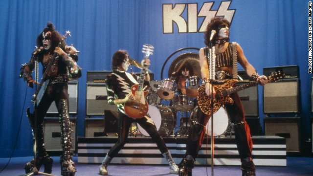 Kiss performs on stage, circa 1981. Peter Criss, the band's original drummer, was replaced by Eric Carr in 1980. Left to right: Gene Simmons, Ace Frehley, Eric Carr and Paul Stanley.