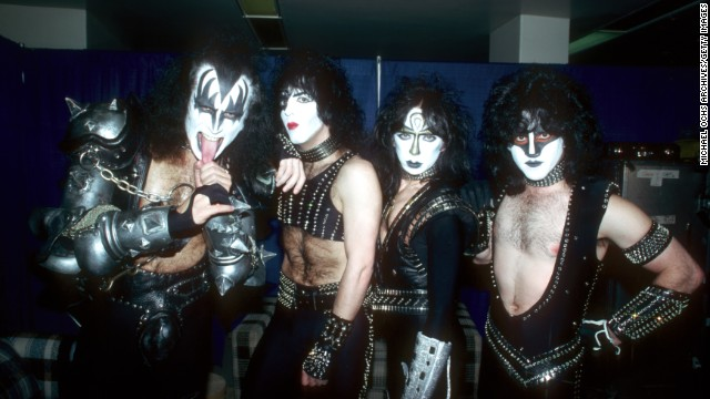 Lead guitarist Ace Frehley left the band in 1982 and was replaced by Vinnie Vincent. The new lineup -- left to right, Simmons, Stanley, Vincent and Carr -- pose here in 1983.