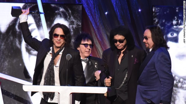 Earlier this year, 40 years after KISS' first album, the members of the band were inducted into the Rock and Roll Hall of Fame. Left to right, inductees Paul Stanley, Peter Criss, Gene Simmons and Ace Frehley celebrate at the induction ceremony in April.