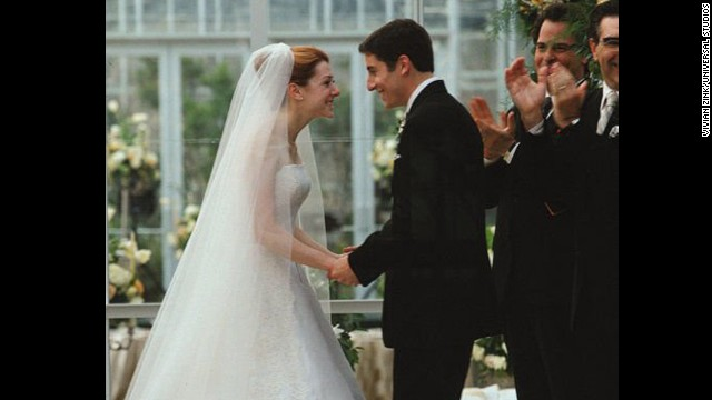 """American Wedding"": The ""American Pie"" gang has grown older and graduated to wedding cake in this 2003 sequel, but that doesn't mean they've grown up. At the nuptials of Michelle and Jim (Alyson Hannigan and Jason Biggs), messy antics ensue. (And yes, Stifler's mom makes quite a splash.)"
