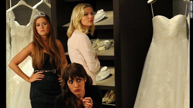 Bachelorette: A tip -- frenemies don't make good bridesmaids. In this 2012 film, Isla Fisher, left, Lizzy Caplan, center, and Kirsten Dunst are members of the wedding party of a woman they used to taunt in high school, and find that little has changed.