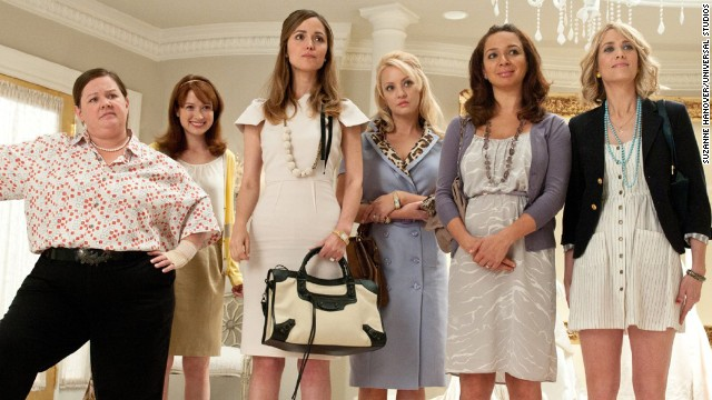 """Bridesmaids"": In this 2011 comedy, maid of honor Annie (Kristin Wiig, far right) hits a rough patch right before the wedding of best friend Lillian (Maya Rudolph, second from right) and accidentally sabotages everything from the dress fitting to the bachelorette party. Her increasingly erratic behavior strains her friendship with the overwhelmed bride until she's fired from the wedding -- and her friendship."