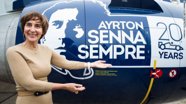 Senna's sister Viviane was on hand at the grand unveiling of the plane. She is the head of the Ayrton Senna Institute, which partners with major corporations to give educational opportunities to millions of chil