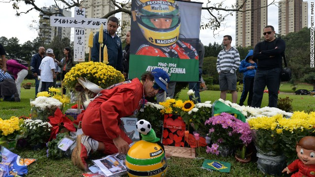 Fans have flocked to Ayrton Senna's grave in recent days to mark the 20th anniversary of the triple world champion's death. The Brazilian passed away after a crash at the Imola Circuit in 1994 during the San Marino Grand Prix.