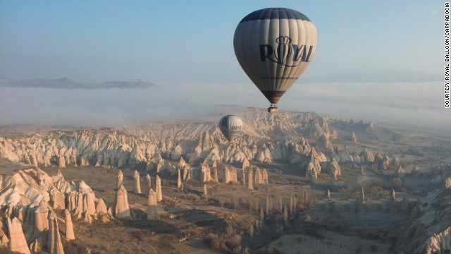 The view of of twisted rock formations in Cappadocia, Turkey, is most magnificent from the air.