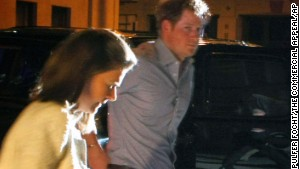 Britain\'s Prince Harry steps out of a vehicle to eat at Rendezvou in downtown Memphis, on May 1.
