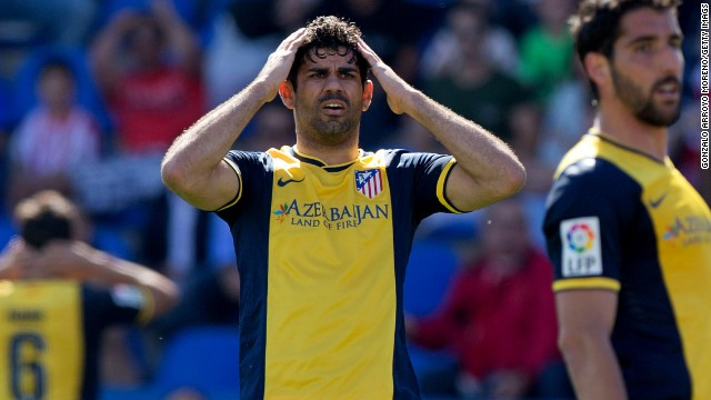 Diego Costa reacts in disbelief as Atletico Madrid slip to a shock 2-0 defeat to Levante in La Liga.