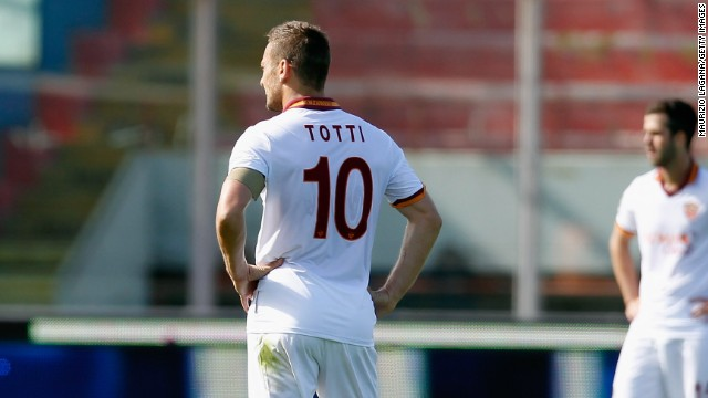 Roma captain Francesco Totti scored in the 4-1 defeat at Catania which finally ended his side's title hopes in Italy.