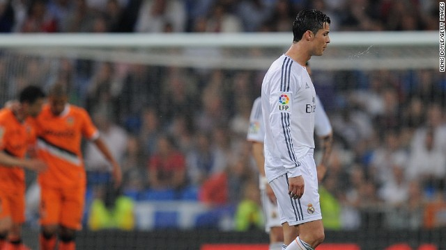 Cristiano Ronaldo reacts in disbelief as Valencia go 2-1 ahead in the Bernabeu in a vital La Liga match.