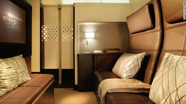 """The Residence"" is the featured attraction on Etihad's new upper-deck cabin on its Airbus A380 aircraft. It includes a living room, separate double bedroom and en-suite shower. Passengers have access to a butler, for those times when a flight attendant simply won't do."