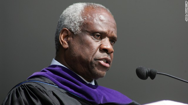"Supreme Court Justice Clarence Thomas <a href='http://news.uga.edu/releases/article/justice-clarence-thomas-spring-2008-commencement-address/' target='_blank'>gave the commencement speech</a> at High Point University on May 3, 2008. Thomas, who majored in English literature, said, ""Take a few minutes today to say thank you to anyone who helped you get here. Then try to live your lives as if you really appreciate their help and the good it has done in your lives. Earn the right to have been helped by the way you live your lives."""