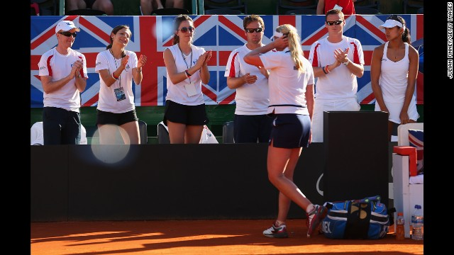Baltacha walks to thank her supporters after a Fed Cup loss to Argentina's Maria Irigoyen in April 2013.