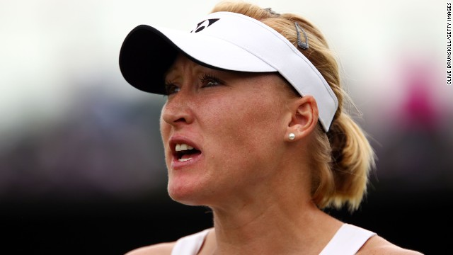 Baltacha is seen at Wimbledon during a first-round match against Petra Martic in June 2010.