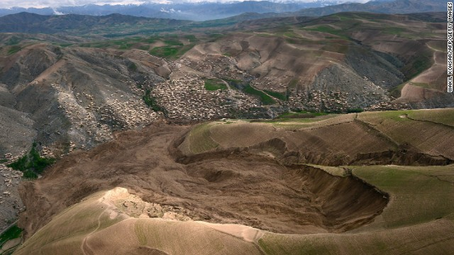 The mud and rocks of the landslide are pictured in this aerial view of the Abi Barak village on May 5.